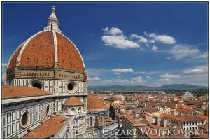 Widok z Katedry Santa Maria del Fiore we Florencji WŁOCHY