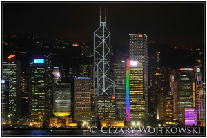 Nocna panorama miasta HONGKONG